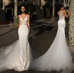 Backless Button Up Wedding Dress NZ - Tulle Mermaid Wedding Dresses Sheer Sweetheart Covered Button Bridal Gowns 3D-Floral Appliques Lace up Court Train Wedding Gowns