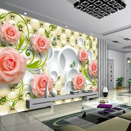 rose painting wall decor 2019 - Custom Any Size Photo Wallpaper 3D Wall Decor For Living Room Modern Simple And Stylish 3D Rose Painting Wall Mural Wall