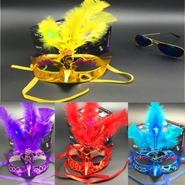 Feathers masquerade ball online shopping - HOT Holiday face mask Mixed color Halloween LED Facial mask Masquerade Cosplay halloween gift Venetian Ball Prom Glowing LED Feather Mask