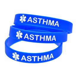 medical alert wristbands Canada - Hot Sell 1PC Medical Alert Bracelet Asthma Silicone Wristband Great to Used In School Or Outdoor Activities
