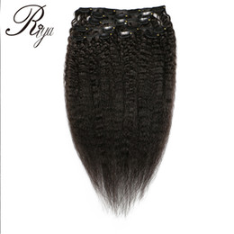 Chinese  Brazilian Kinky Straight Clips In Human Hair Weave Bundles Hair Styles of Natural Black Color Hair Extensions Weave 120g 8pcs Set For Women manufacturers