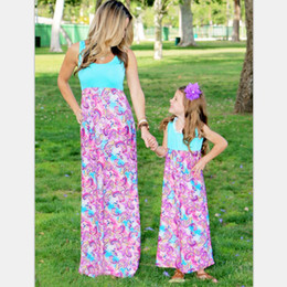 $enCountryForm.capitalKeyWord Canada - summer mother daughter Long maxi dresses family look clothing mom and daughter chevron dress weave mommy and me clothes sets
