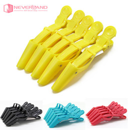 Wholesale- 5Pcs lot Black Red Hairdressing Salon Sectioning Clamp Crocodile Hair Clips Hairpin Grip 4 Multi-Colors Styling Tools Wholesale on Sale
