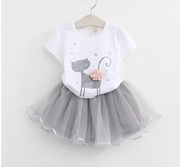 6m veils NZ - Kids Girl 2pcs set Cat design T-Shirt+Veil Tutu Skirt Clothing Sets Toddler summer Short Sleeve Princess outfit
