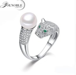 9mm Pearl Size NZ - Real freshwater pearl rings 8-9mm cultured double pearl rings silver 925 for women adjustable ring with pearl mom birthday best gift