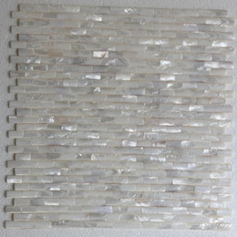 White Pearl Mesh Canada - [FREE SHIPPING] 10x20mm Semicolumn shape, white color mother of pearl shell mosaic, brick pattern, mesh backer ( MS056w)