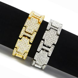 Superwide Exaggerated Punk Bangle Shiny AAA+ Rhinestones Bracelets Hip Hop Bling Jewelry T-Shows Accessories Wristbands Gold Silver