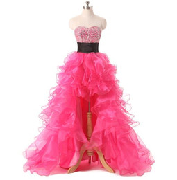 China Cheap Fuchsia Organza Long Homecoming Dresses 2016 New Arrivals High Low Sexy Graduation Gowns Luxury Crystals Prom Formal Dress Gonws supplier long white feather dress suppliers