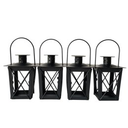 Lantern Candle Holders Wholesale Canada - Cheap Black color classic style Tea Light Holder Metal candle holder Small Iron lantern candlestick holders gift Wedding decoration