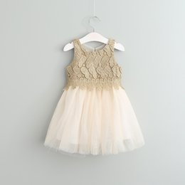 Barato Vestidos De Luxo Menina-Baby Girls Crochet Lace Tulle Dresses Kids Girls Princesa tutu Vestido Girl Spring Luxury Party Dress 2017 roupas infantis