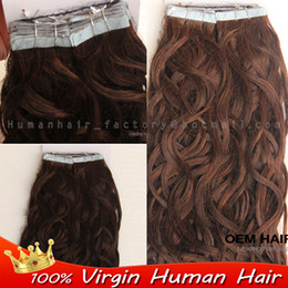 $enCountryForm.capitalKeyWord Canada - Wholesale- Brazilian virgin human tape hair 40pcs double drawn tape in hair extensions remy #4 Dark Brown Body wave skin weft seamless hair