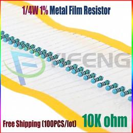 Discount resistor metal film ohm - Wholesale-NEW 100pcs 10k ohm 1 4W 10k Metal Film Resistor 10kohm 0.25W 1% ROHS