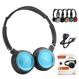 ingrosso cuffie iphone 7-Auricolari Bluetooth Wireless Headphones BT823 Stereo Sport Cuffie per iPhone plus con il Mic Lettore MP3 SD TF Musica Radio FM