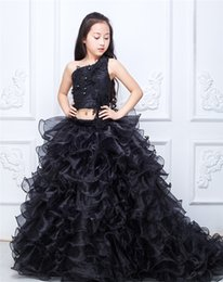 Little Girls Formal Party Dresses Canada - Black 2 Pieces Little Girls Pageant Dresses 2017 One Shoulder Tiered Skirt Two Pieces Sexy Little Gilrs Formal Party Gowns Dress Sale