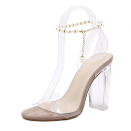 ebaf722aa009 Pearl beading ankle chain crystal shoes clear transparent thick heel  sandals party events size 35 to 40
