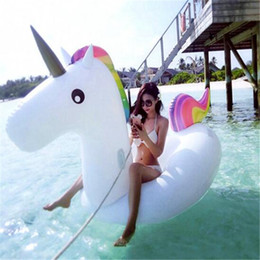 funny adult cartoons NZ - 275X140X120CM Swimming Inflatable Floats Unicorn Beach Pool Toys Adult Kids Outdoor Sport Giant Swimming Pool Ride-on Water Toy Play Funny