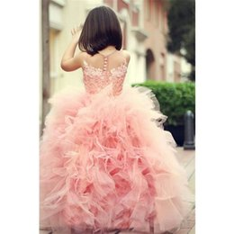 Barato Meninas Inchado Vestidos Para Venda-Vestidos Puffy para meninas Vestido Para Daminha 2017 Compras quentes Lovely Ball Gown Flower Girl Vestidos Children Beauty Pageant Dresses