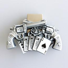 Hommes ceinture Boucle NOUVEAU Vintage Gun Vintage Royal Flush Poker Spinner Buckle Boucle Boucle de Ceinture Buckle-LT017 Tout neuf en Solde