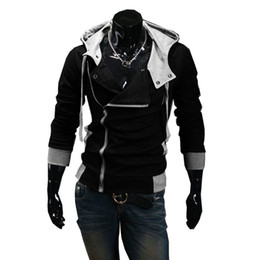 assassins creed hoodies free shipping UK - Wholesale- Autumn & Winter Oblique Zipper Casual Slim long sleeve hiphop Assassin Creed Hoodies Sweatshirt Outerwear Jackets Free Shipping