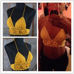 Bra Bikini Top Swimwear Canada - crocheted handmade crochet camisole bikini, knitted crop tops, sexy summer swimwear bikini set, fashion bra tops002p.