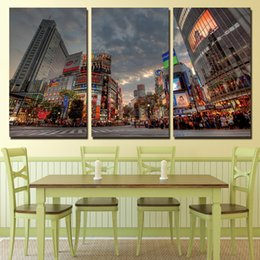 Discount street painting canvas 3 Pcs Set Framed HD Printed Busy Tokyo Street Wall Art Canvas Pictures For Living Room Bedroom Home Decor Canvas Paintin