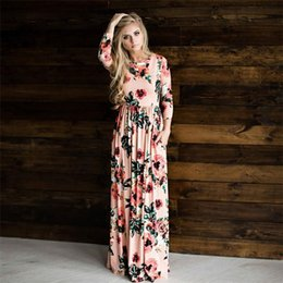 Barato Mulheres Boho De Mangas Compridas-Hot venda Boho Women Maxi Dresses Navy Round Neck Long Sleeve Womens Fashion With Button Floral Long Party Dress ONY0320