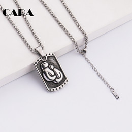$enCountryForm.capitalKeyWord NZ - CARA New Arrival Punk style 316L stainless steel pendant necklace Boxing glove square tablet necklace mens jewelry hip hop necklace CAGF0190