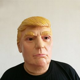 Costumes Donald Pas Cher-Trump Celebrity Latex Mask Masquerade Parties Masques Présidentielle Donald Latex Masque pour Maquillage Noël Halloween Party Costume Nouveau