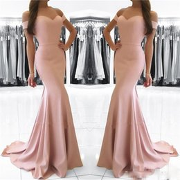 Venta Rubor Venta Baratos-Simple Blush Pink Sirena Prom Dresses Cap Sleeves Sweetheart baratos vestidos de noche Long Sheath Formal Wear venta en línea 2018