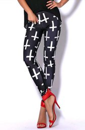 Leggings Cross-print Pas Cher-Wholesale- East Knitting X-024 2017 Nouvelle femme de mode Cross Print pantalon Punk Leggings Plus Size S / M / L / XL