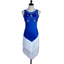 $enCountryForm.capitalKeyWord Australia - Latin Samba Dance Dress Women Girls Prom Dress Salsa Dance Competition Dresses Tango Ballroom D0227 Customized Size Rhinestones Tassel Hem