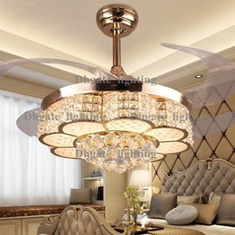 modern crystal noble round shaped led living room ding room ceiling fan lights with retractable blade and pure copper winding motor modern ceiling fans