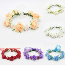 Cheap Flower Crowns UK - bridal bridesmaids flower garlands crown festival wedding hairband BOHO floral headware headpieces wholesale cheap price
