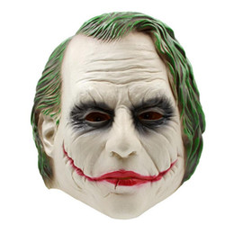 Barato Traje De Filme Adulto-Joker Mask Clown Costume Cosplay Movie Adult Party Masquerade Máscaras de látex de borracha para Halloween Frete grátis