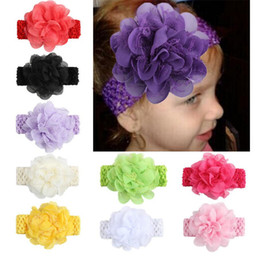 $enCountryForm.capitalKeyWord NZ - 10PCS Lace Flower Baby Kid Headbands Knitted Girl Hairband Headwear Infant Kids Photography Props NewBorn Baby Hair bands Accessories