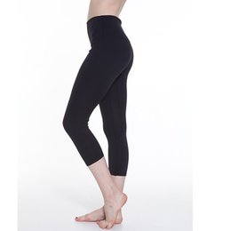 Spandex Yoga Pants UK - Wholesale Women Yoga Pants High Waist Sports Capri Pantolon Slim Stretched Cropped Gym Fitness Elastic Tights Breathable Trousers