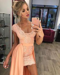 portrait neckline 2019 - Sexy sheath short prom dresses with detachable train portrait neckline lace mini 2017 cocktail party gowns cheap portrai