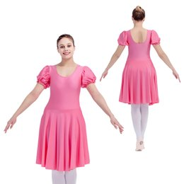 Léotards Bordés Pas Cher-Shiny Nylon / Lycra Puffy Manches Ballet Dance Justaucorps Dress Jupe Filles Costumes de performance Pleines tailles 21 couleurs disponibles