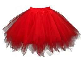 Barato Tutus Grosso Do Arco-íris-Red Tutu Skirt Costumes para mulheres Halloween Bithday Party Rainbow Cosplay Short Tulle Petticoat Ballet Bubble Mini Wholesale Frete Grátis