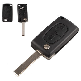 $enCountryForm.capitalKeyWord Canada - 100 pcs Wholesale Uncut Blade Car case Replacement Key Shell Protection Cover Flip Remote Key for PEUGEOT by DHL AUP_41T