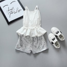 Discount baby girl white tops - latest design baby girls outfits backless tank top vest+sequined shorts two-piece girl's clothing set kids suit