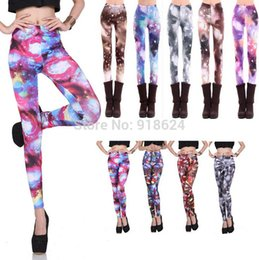 Barato Leggings Galaxy Hot-Venda por atacado - HOT Sale 2017 Mulheres Sexy Punk Novelty Galaxy Space Star Sky Fireworks Graphic Digital Impresso Super Stretch Leggings Pants