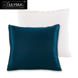 Chinese  Wholesale- Lilysilk 100% Pure Mulberry Silk Pillowcase with Cotton Underside Pillow Cover Free Shipping 60x60cm 65x65cm 70X70cm 1 Pcs manufacturers