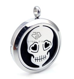 $enCountryForm.capitalKeyWord NZ - Chain as gift! Round Skull Silver (30mm) Essential Oils Stainless Steel Necklace Perfume Diffuser Locket Aromatherapy Locket Necklace
