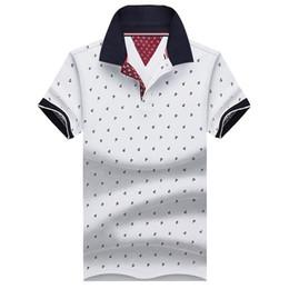 Опт Новый бренд Polos мужские печатных рубашки поло 100% хлопок с коротким рукавом Camisas Поло повседневная стенд воротник мужской рубашки поло 4XL