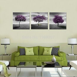 discount three panel framed art trees 3 panles canvas painting prairie purple tree picture printed on - Discount Framed Art