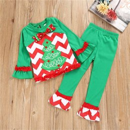 Barato Calça Para Criança-Europeu Crianças Meninas Engrenagem De Árvore De Natal Clothes Stripe Trajes De Natal Kid Girls Xmas Long Sleeve Shirt Trousers 2102148