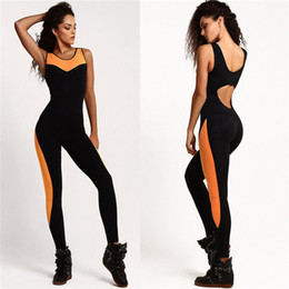 Barato Conjuntos De Jogging Feminino-Mulheres Summer Backless Bodysuit Tight Yoga Ginásio Running Sport Fitness Jogging Sportswear Calças Jumpsuit Tracksuit Trouser Sets Novo 2501067