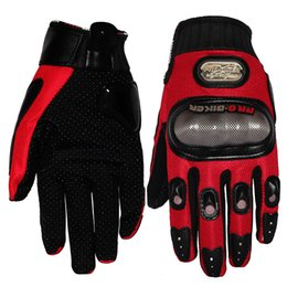 Discount moto racing gloves - Fashion New Leather Full Finger Black Red Blue Colors Moto Motorcycle Gloves Motos Racing Protective Gears Motocross Glo