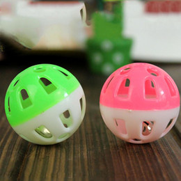 aluminum balls wholesaler NZ - 2016 Hot Selling Tinkle Bell Ball Pet Toy Plastic Dog Cat Playing Ball Pet Products Random Color